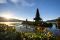 A hindu floating temple located near lake in bali indonesia Stock Photos