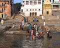 Hindu Ghats on the River Ganges - Varanasi - India Stock Photos
