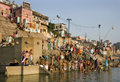 Hindu Ghats - River Ganges - Varanasi -India Royalty Free Stock Images