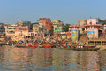 Hindu Ghats in Varanasi Royalty Free Stock Image