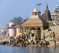 Hindu Ghats - Varanasi in India Royalty Free Stock Photos
