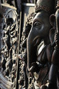 Hindu god ganesha carved on stone Royalty Free Stock Photo