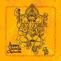 Hindu God Ganesha. Hand drawn Vector illustration.
