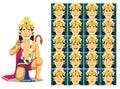 Hindu God Hanuman Cartoon Emotion faces Vector Illustration