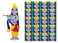 Hindu God Krishna Janmashtami Cartoon Emotion faces Vector Illustration