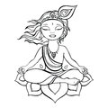 Hindu god krishna vector hand drawn illustration Stock Photo