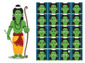 Hindu God Rama Cartoon Emotion faces Vector Illustration