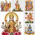 Hindu gods collage Royalty Free Stock Photo