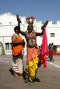 Hindu haridasu sing devotional songs going around the community during dhanurmasam before sankranti festival in south india in Stock Photography
