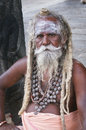 Hindu holy man sadhu wandering with long dreadlocks in the temple in tiruvannamalai Stock Photography