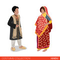 Hindu Indian couple flat 3d isometric costume collection
