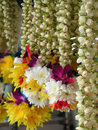 Hindu leis colorful for sale at the temple Royalty Free Stock Photography