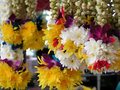 Hindu leis colorful for sale at the temple Royalty Free Stock Images