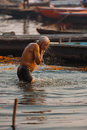 Hindu Man Morning Bath Ganges River Varanasi Royalty Free Stock Image