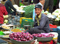 Hindu men in indian street market trading and selling different food fruits and vegetables Royalty Free Stock Photography