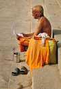Hindu monk praying Stock Photo
