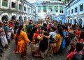 Hindu people dancing at Navratri festival