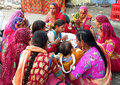 Hindu people in indian market women dressed the bright colorful clothes Stock Images