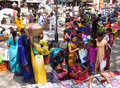 Hindu people in indian market women dressed the bright colorful clothes Stock Photo