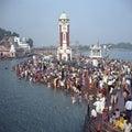 Hindu pilgrims, River Ganges, Haridwar, India Royalty Free Stock Photo