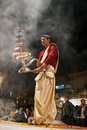 Hindu priest during religious Ganga Aarti ceremony Royalty Free Stock Image