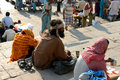 Hindu Sadhu Begging on Ghats Stock Photo