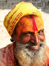 Hindu sadhu at the pashupatinath temple in kathmandu nepal Royalty Free Stock Photo