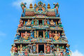 Hindu temple with goddess statue in singapore city Stock Photos