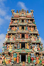Hindu temple with goddess statue in singapore city Royalty Free Stock Photo