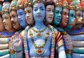 Hindu temple, multiple face statue, Singapore Royalty Free Stock Photos