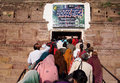 Hindu temple pilgrims enter a during a ritual in north india Stock Image