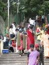 Hindu women browse the market tirupati india nov on nov in andhra pradesh india Royalty Free Stock Photography