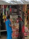 Hindu women browse the market tirupati india nov on nov in andhra pradesh india Stock Photography