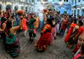 Hindu women dancing in traditional clothes