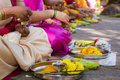 Hindu women making a ritual offering gosai ghat india nov ladies peform to the devi on november th at gosai ghat india Stock Photography