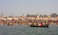 Hindu worshipers bathe during the Kumbh Mela Stock Photography