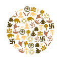 Hinduism religions symbols vector set of icons in circle eps10 Royalty Free Stock Photo