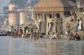 Varanasi, India, Hindus bathing in River Ganges Royalty Free Stock Photo
