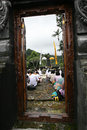 Hindus pray javanese in a temple in karanganyar central java indonesia Royalty Free Stock Photo