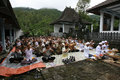 Hindus pray javanese in a temple in karanganyar central java indonesia Stock Photography
