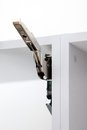 Hinge internal for a kitchen door Stock Photo