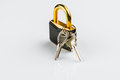 Hinged lock with keys on white background Stock Photography
