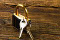 Hinged lock with keys on wooden background Stock Images