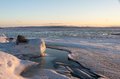 Hint of spring at dusk beautiful lake champlain the end march Royalty Free Stock Photography