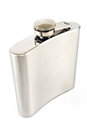 Hip flask for alcohol isolated on white Royalty Free Stock Image