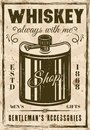 Hip flask for whiskey vintage vector poster Royalty Free Stock Photo