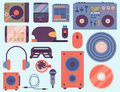 Hip hop accessory musician instruments breakdance expressive rap music dj vector illustration.