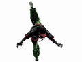 Hip hop acrobatic break dancer breakdancing young man jumping si Royalty Free Stock Photo