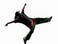 Hip hop acrobatic break dancer breakdancing young man silhouette one white background Royalty Free Stock Photography