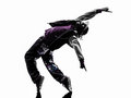 Hip hop acrobatic break dancer breakdancing young man silhouette one white background Stock Photos
